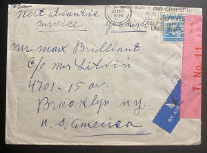 1939 Tel Aviv Palestine Airmail Censored Cover To Brooklyn NY USA