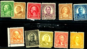 U.S. #581-591 MINT MIXED CONDITION
