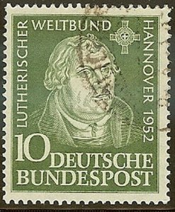 Stamp Germany Sc 0689 1952 Bundespost Martin Luther World A embly 1952 Used