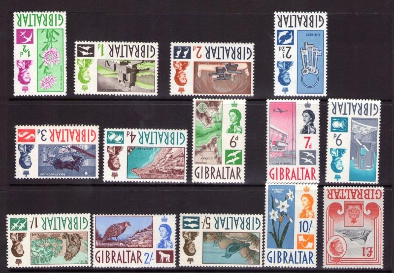 GIBRALTAR QEII  1960 set lightly hinged and MNH (majority)