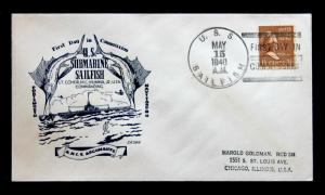 US Stamp Sc# 805 on USS SAILFISH Naval Cover 1st Day in Commission May 15, 1940