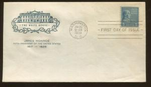 1939 Washington DC US Stamp #810 Presidential Issue James Monroe First Day Cover