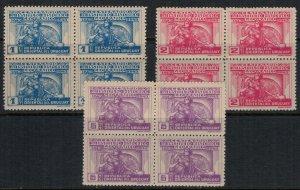 Uruguay #526-8* NH  Blocks of 4  CV $4.00