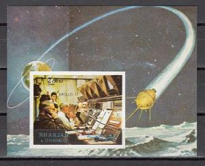 Sharjah, Mi cat. 993, BL113 B. Apollo 17, Houston Control, IMPERF s/sheet. *