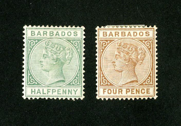Barbados Stamps # 60 + 65 VF OG H Scott Value $51.00
