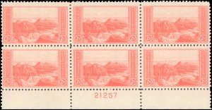 United States #741, Complete Set, Plate Block of 6, 1934, Never Hinged