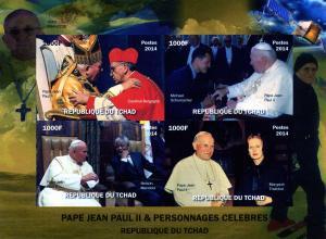 Chad 2014 Pope John Paul II C.Bergoglio Sheet Imperforated mnh.vf