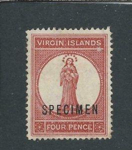 BRITISH VIRGIN IS 1887-89 4d CHESTNUT OVPT SPECIMEN MM SG 35s