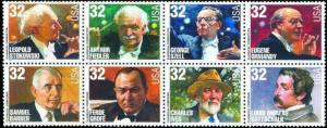 US Stamps - 1997 Composers & Conductors - 8 Stamp  Block #3158-65