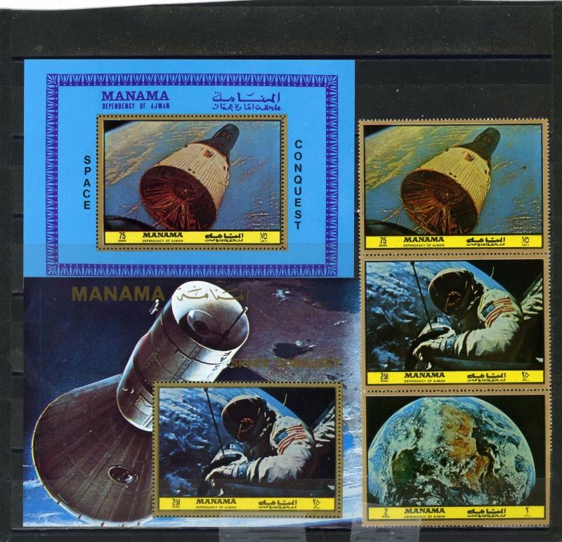 MANAMA 1972 SPACE RECEARCH SET OF 3 STAMPS & 2 S/S PERF. MNH