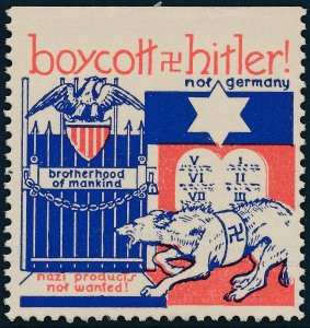Stamp Label US 1941 WWII Boycott Germany Anti Hitler Jewish Defense MNG