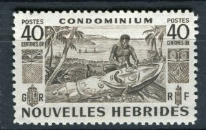 FRENCH; NEW HEBRIDES 1953 early pictorial issue fine Mint hinged 40c. value