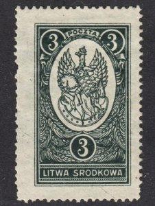 Central Lithuania Scott 37 F+ mint OG HH on pelure paper.
