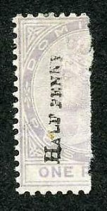 Dominica SG12 HALF PENNY in Black on half a 1d M/M Cat 70 pounds