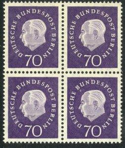 GERMANY / BERLIN - 1959 70pf President Heuss Issue Block of 4 Sc 9N169 MNH
