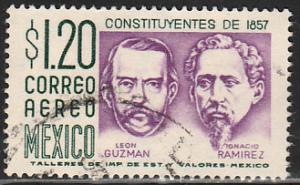 MEXICO C289, $1.20Pesos 1950 Defin 3rd Printing wmk 350. USED. F-VF. (1438)