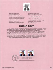 US SP1328 Uncle Sam 3353 Souvenir Page FDC