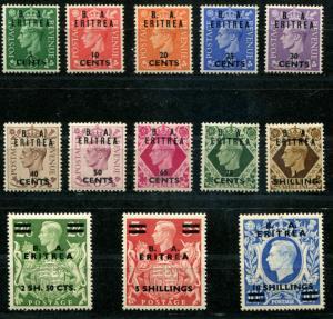 British Offices BMA Eritrea SC# 14-26  SG# E13-25 George VI set MNH