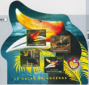 893 - CENTRAL AFRICAN R. -  ERROR -  IMPERF sheet 2013 - BIRDS Toucan
