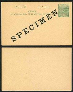 Perak Postcard opt SPECIMEN (Large type)