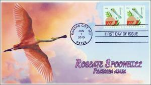 SC 4993, 2015, Coastal Birds, Roseate Spoonbill, FDC, BW, 15-172