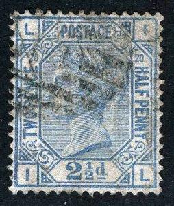Great Britain Sc 68 Ultramarine 2 1/2p Wmk#29 Pos IL Plt 20 VF