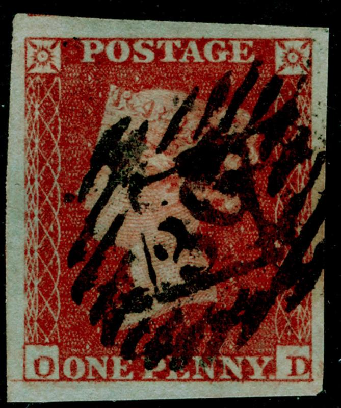 SG8, 1d red-brown PLATE 154, FINE USED. Cat £40. 4 MARGINS. OD