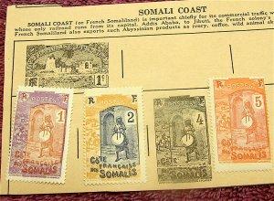 French Somaliland (Somali Coast) Circa 1915 Postage Stamps---Lot of 3 Mint Hinge