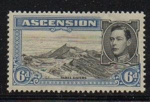 Ascension Sc 45 1938 6d Three Sisters stamp mint