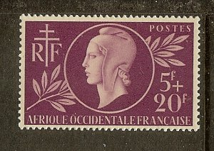 French West Africa, Scott #B1, 5fr + 20fr Red Cross Issue, MLH