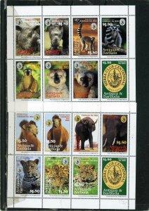 ANTIGUA & BARBUDA 1994 Sc#1776-1777 FAUNA/WILDLIFE 2 SHEETS OF 8 STAMPS MNH