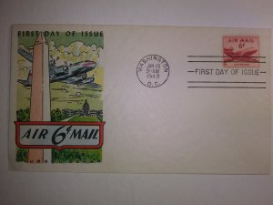 SCOTT # C39 SIX CENT AIR MAIL FLUEGEL CACHET FIRST DAY OF ISSUE STUNNING !!