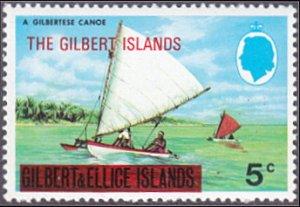 Gilbert Islands # 257 mnh ~ 5¢ Canoes, overprint