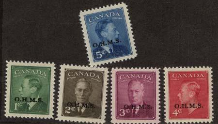 Canada - 1950 POSTES-POSTAGE O.H.M.S. Set VF-NH #O12-15A