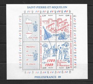 ST PIERRE & MIQUELON #517  FRENCH REVOLUTION S/S  MNH