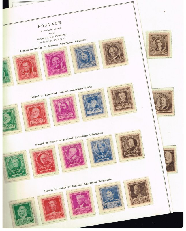 US STAMP #859-888 Famous American Series 1940 MH/OG STAMPS SET