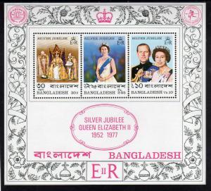 BANGLADESH #123-125a    1977 QEII SILVER JUBILEE  MINT  VF NH  O.G  S/S