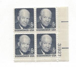 United States, 1393, Eisenhower Plate Block of 4, #31927, LR, MNH
