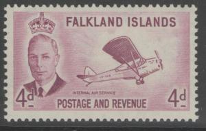FALKLAND ISLANDS SG177 1952 4d REDDISH PURPLE MNH