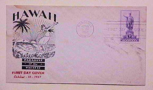 HAWAII FDC 1937  #799-40A PARADISE OF TEH PACIFIC CACHET