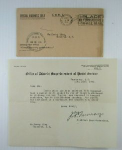 1930 Canada Official Business Only PO cover Vancouver District Superintendent