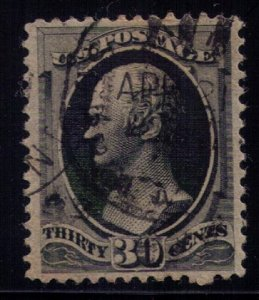US Sc #154 Used 30c Solid Black Very Fine Cat $300.00