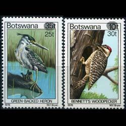 BOTSWANA 1981 - Scott# 289-90 Birds Surch. Set of 2 NH