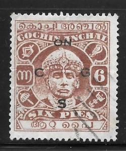 India Cochin O51: 6p Maharaja Sri Rama Varma II, used, F-VF