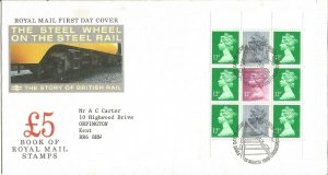 The Steel Wheel on the Steel Rail Royal Mail FDC 1986 £5 Book Of Stamps Z9344