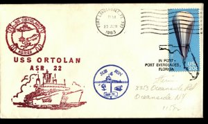 USS ORTOLAN ASR22 1983 US Cachet Naval Cover with 20c Scott 2035  F