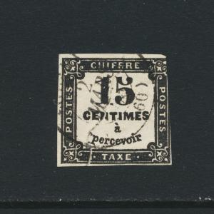 FRANCE 1870, 15c POSTAGE DUE, VF USED Sc#J2 CAT$250 (SEE BELOW)