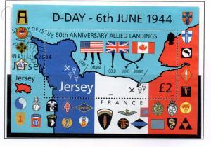 Jersey Sc 1130 2004 £2 D Day Landings stamp sheet used
