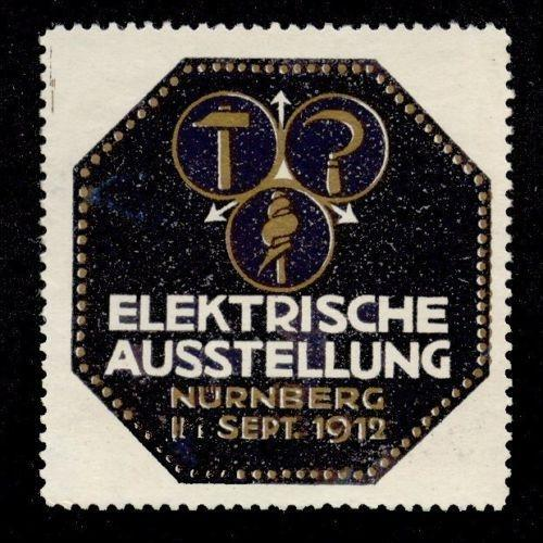 Germany 1912 Nurnberg Electrical Expo Poster Stamp