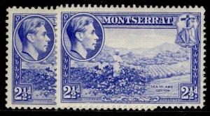 MONTSERRAT GVI SG105 + 105a, 2½d PERF VARIEITES, M MINT. Cat £7.